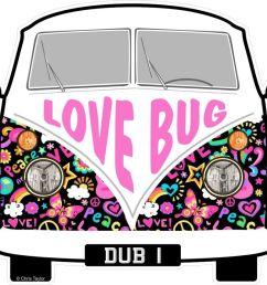 love bug hippy slogan for retro split screen vw camper van bus design external vinyl car sticker 90x80mm [ 1000 x 889 Pixel ]